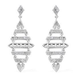 GP Diamond (Rnd), Kanchanaburi Blue Sapphire Earrings (With Push Back) in Platinum Overlay Sterling Silver 0.540 Ct.