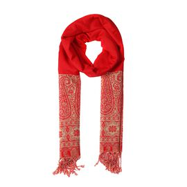 Paisley Pattern Scarf (Size 70x200 mm) with Tassels - Red