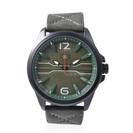 STRADA Japanese Movement Water Resistance Watch with Dark Green Strap and Green Dial