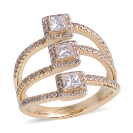 New York Close Out Deal - 14K Yellow Gold Diamond (Princess 3 mm) (I2/G-H) Ring 1.000  Ct.Size N Gol