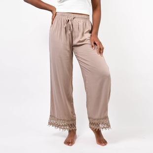 SUGARCRISP Comfortable Palazzo with Lace Bottom in Stone (Length 102 cm, Inside Length 70 cm) (Size L)
