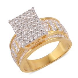 ELANZA Simulated White Diamond Ring in 14K Yellow Gold Overlay Sterling Silver, Silver wt 5.64 Gms.