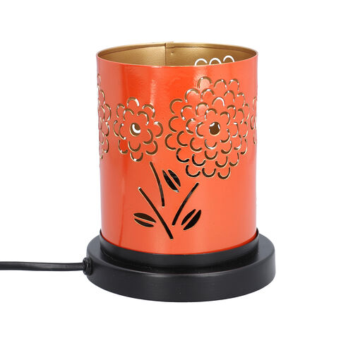Handcrafted Marigold Pattern Table Lamp With Rock Salt (Size15x10x13cm) - Orange