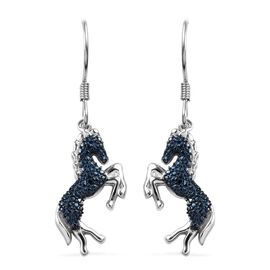 Blue Diamond (Rnd) Horse Hook Earrings in Platinum Overlay Sterling Silver