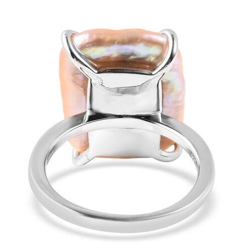 Baroque Peach Pearl Solitaire Ring in Rhodium Overlay Sterling Silver