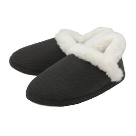 Dunlop Fleece Lined Collared Full Slippers in Black Colour