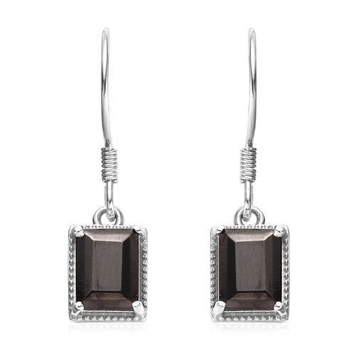Elite Shungite Hook Earrings in Platinum Overlay Sterling Silver 2.00 Ct.