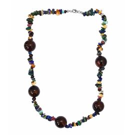 Rosso Agate, Russian Amazonite, Mozambique Garnet and Multi Gemstone Necklace (Size 20) in Platinum