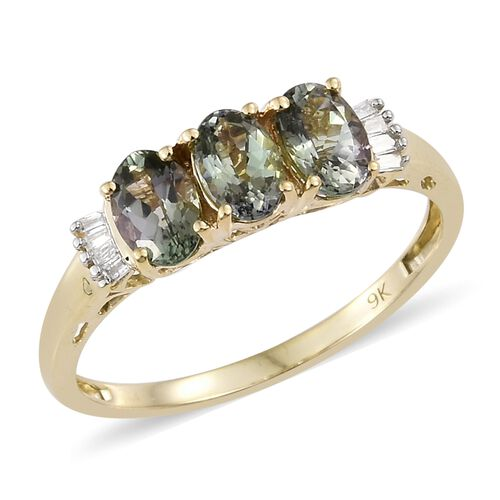 1.40 Ct AA Natural Green Tanzanite and Diamond Ring in 9K Gold