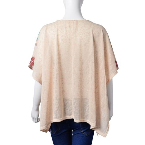 Orange and Green Colour Floral Pattern Off White Colour Poncho with Tassels on Neck (Size 85X60 Cm)