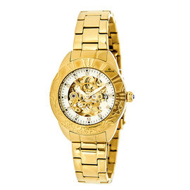 Empress Godiva Automatic Movement White Dial 10 ATM Water Resistant Ladies Watch in Yellow Gold