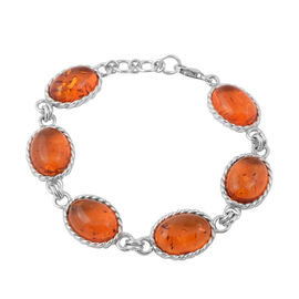 Baltic Amber Bracelet (Size 8.5 with Extender) in Sterling Silver