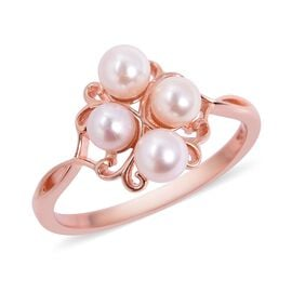 Japanese Akoya Pearl (Rnd) Ring in Rose Gold Overlay Sterling Silver