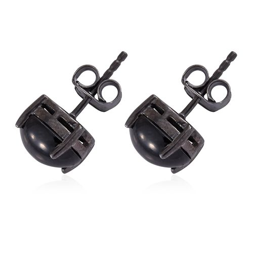 Boi Ploi Black Spinel (Ovl) Stud Earrings (with Push Back) in Black Rhodium Plated Sterling Silver 5.750 Ct.