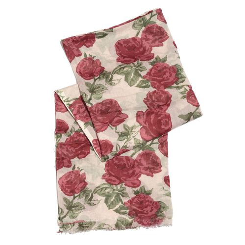 Italian Close Out Deal - Red, Green and White Colour Rose Flower Printed Scarf (Size 180X110 Cm)