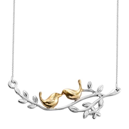 Bird Couple on Olive Branch Silver Necklace (Size 18) in 2 Tone Platinum and Gold Overlay, Silver wt 4.98 gms