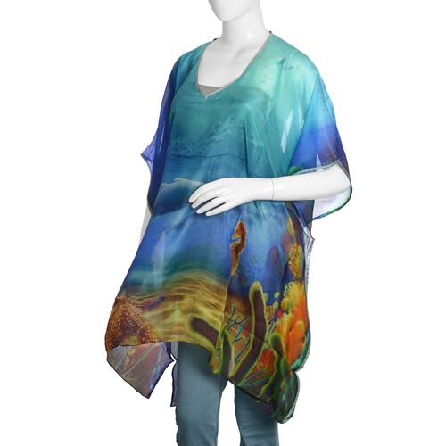 100% Mulberry Silk Blue, Green and Multi Colour Underwater World Pattern Kaftan (Free Size)
