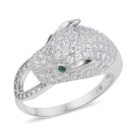 ELANZA AAA Simulated Emerald and Simulated White Diamond Leopard Ring in Rhodium Plated Sterling Silver, Silver wt 4.14 Gms.