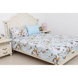 4 Piece Set  - Blue Colour Floral Pattern Single Duvet Cover (Size 135x200 Cm),  2 Pillow Case (Size