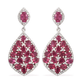 Limited Edition- AAA  African Ruby (Ovl), Natural Cambodian Zircon Earrings (with Push Back) in Plat