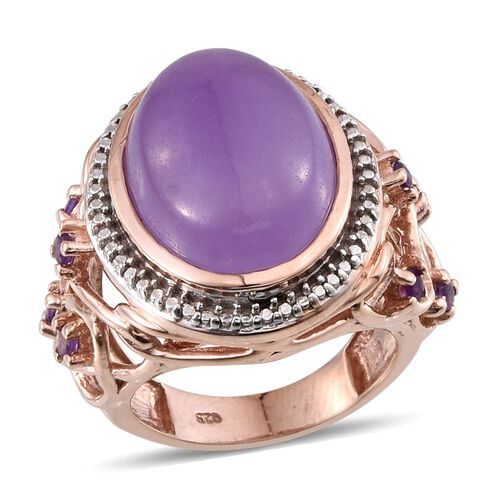 Purple Jade (Ovl 14.00 Ct), Amethyst Ring in Rose Gold Overlay Sterling Silver 14.250 Ct.