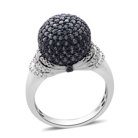 Blue Diamond (Rnd), White Diamond Dome Ring in Platinum Overlay Sterling Silver 1.000 Ct.