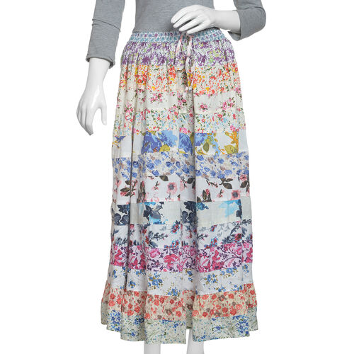 Designer Inspired - White with Multicour Floral Print Patchwork Maxi Skirt (97x76x135)
