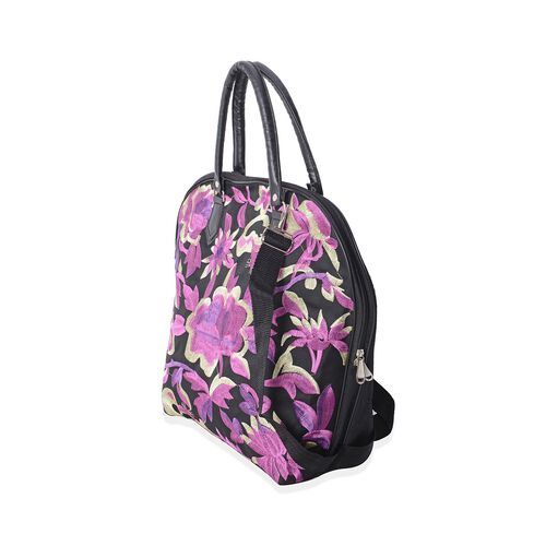 Shanghai Collection Black Colour with Purple Floral Embroidery Tote Bag with Adjustable Shoulder Strap (43X29x15x37 Cm)