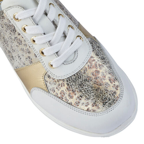 Lotus White & Leopard-Print Leather Florence Lace-Up Trainers (Size 3)