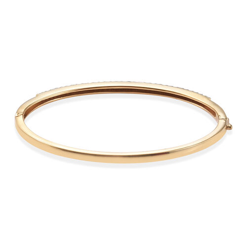 Diamond (Rnd) Bangle (Size 7.5) in 14K Gold Overlay Sterling Silver   0.750 Ct, Silver wt 14.32 Gms, Number of Diamonds 104
