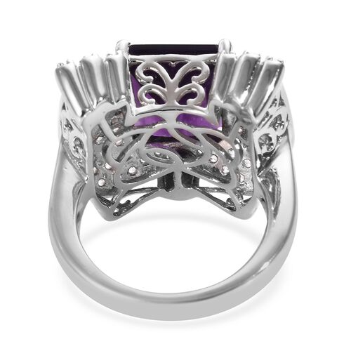 GP Zambian Amethyst (Oct 12x10 mm), Natural Cambodian Zircon and Blue Sapphire Ring in Platinum Overlay Sterling Silver 6.50 Ct, Silver wt 8.41 Gms
