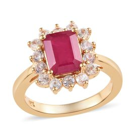 African Ruby (Oct), Natural Cambodian Zircon Ring in 14K Gold Overlay Sterling Silver 2.75 Ct.