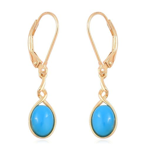 Arizona Sleeping Beauty Turquoise (Ovl) Lever Back Earrings in Yellow Gold Overlay Sterling Silver .750 Ct.