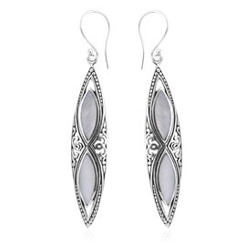 Royal Bali Collection Mother of Pearl (Mrq) Navette Hook Earrings in Sterling Silver, Silver wt 3.50