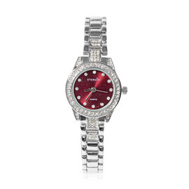 ETERNITY - Ladies Swarovski Studded Watch With Wine Colour Dial in Silver Tone