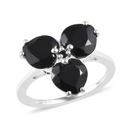 3.53 Ct Thai Black Spinel 3 Stone Ring in Silver