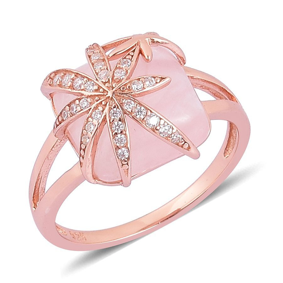 Rose Quartz and Simulated White Diamond Ring in Rose Gold Overlay ...