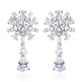 ELANZA Simulated Diamond (Pear and Mrq) Earrings (with Push Back) in Rhodium Overlay Sterling Silver