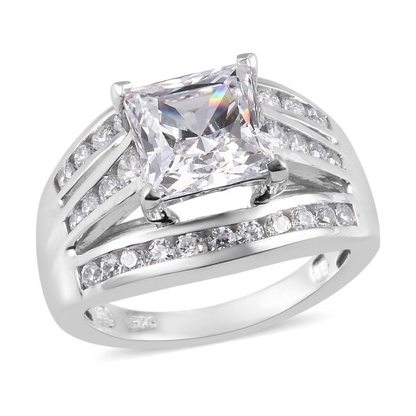 J Francis - Platinum Overlay Sterling Silver Ring Made with SWAROVSKI ZIRCONIA 6.22 Ct.