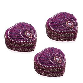 Set of 3 - Purple Colour Heart Shaped Beaded Box Candles in Lemon Grass Fragrance (Size 7.6x7.6x3.8