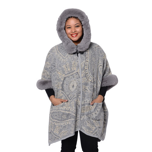 Cashew Flower Pattern Long Cape with Faux Fur Hood and Sleeves (One Size, L: 75cm) - Grey and Beige