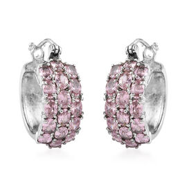 Simulated Rose Quartz Hoop Earrings (with Clasp) in Stainless Steel