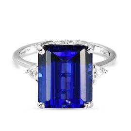 RHAPSODY 950 Platinum  AAAA Tanzanite and Diamond (VS/E-F) Ring 7.47 Ct, Platinum Wt. 5.10 Gms