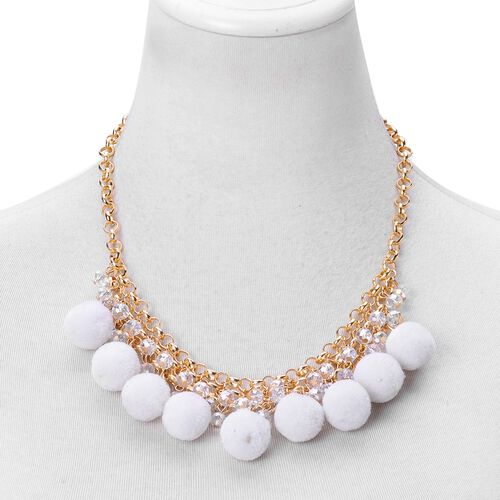 White Colour Pom Pom Necklace (Size 20) with Simulated White Diamond in Yellow Gold Tone