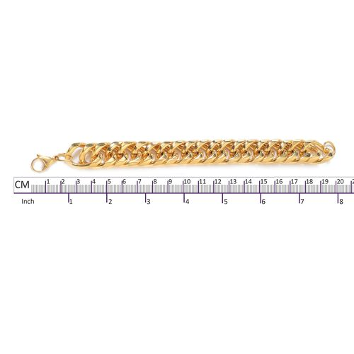 Gold Plated Stainless Steel Curb Link Bracelet (Size 8.5)