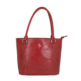 Lucy Q - 100% Genuine Leather Shoulder Bag (Size 32x11x28 Cm) - Red