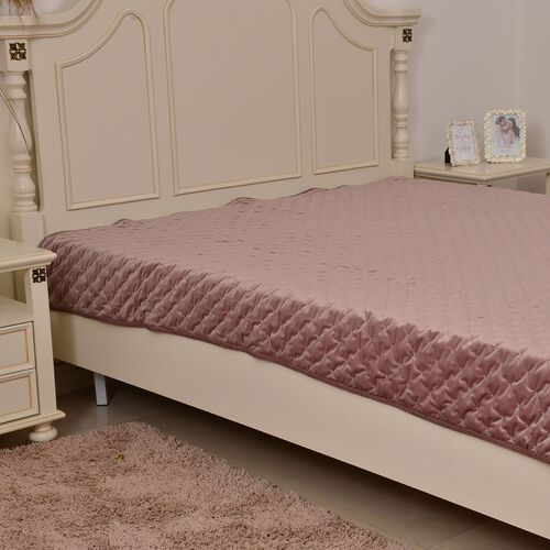 Supersoft Velvet Luxury Quilt with Embroidery in Pastel Antique Rose Colour (Size 180x220 cm)