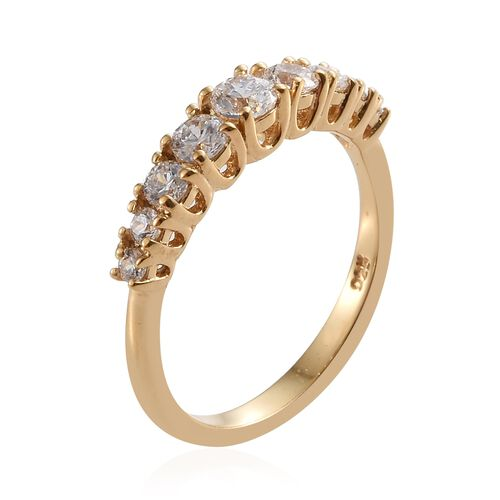 J Francis - 14K Gold Overlay Sterling Silver (Rnd) Half Etenrity Ring Made with SWAROVSKI ZIRCONIA