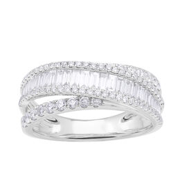 1.21 Ct Diamond Half Eternity Ring in 14K White Gold 4.7 Grams