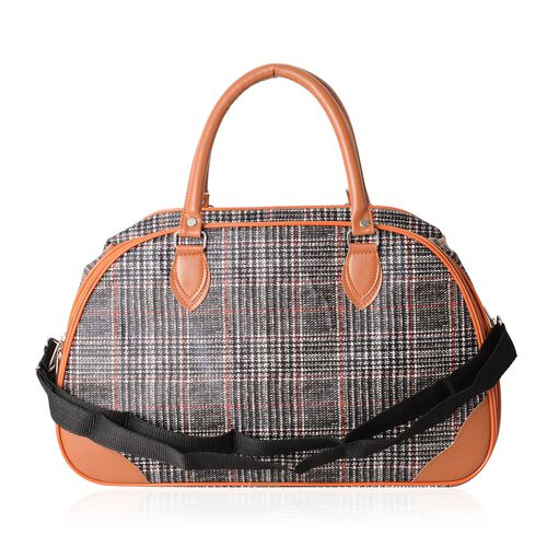 Classic Black Colour With Red Check Pattern Large Weekend Handbag with Adjustable Shoulder Strap (Size 42x17.5x25 Cm)